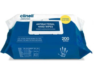 Clinell Antibacterial Hand Wipes (200)